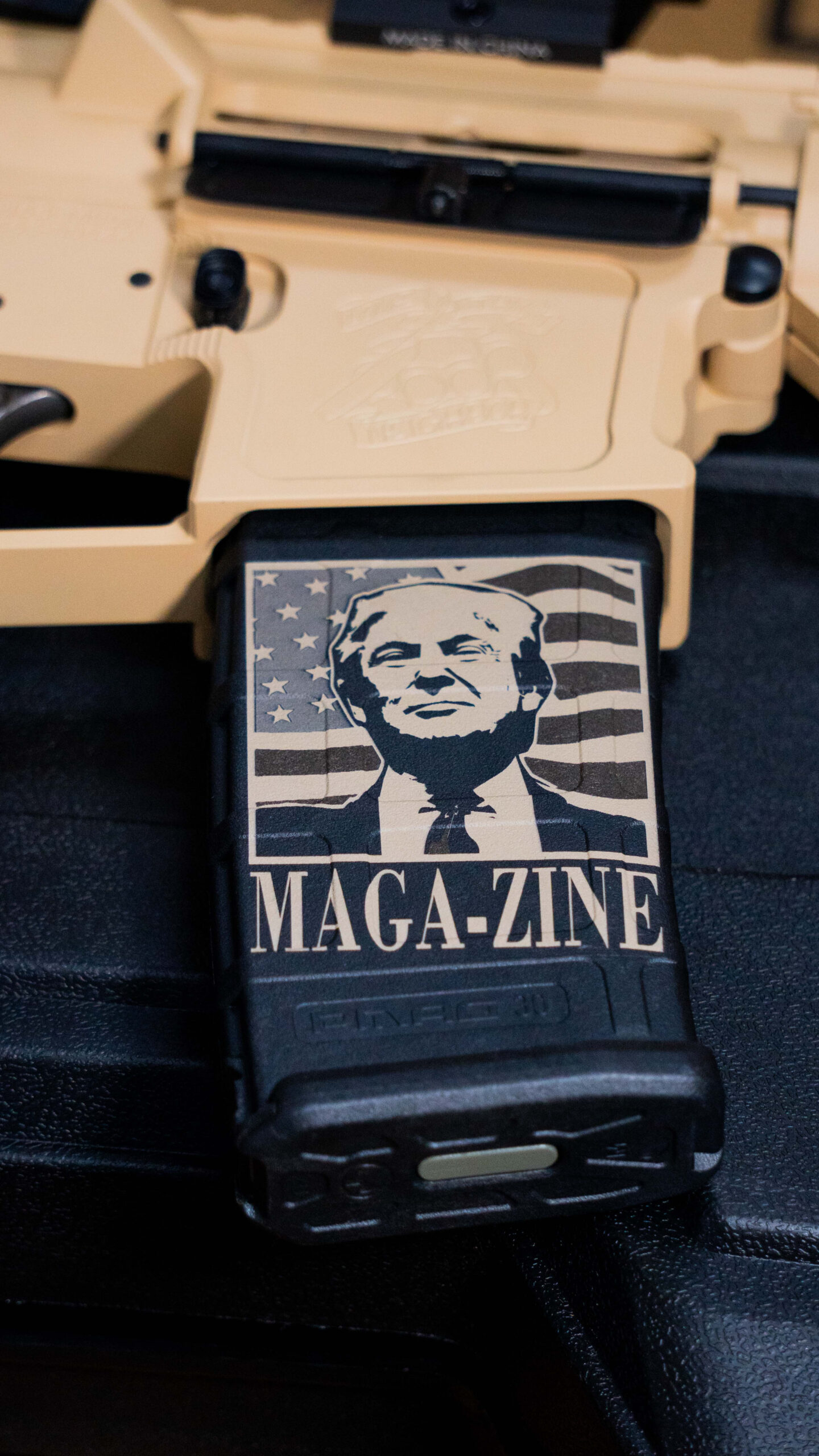 MAGA-zine decal on magazine