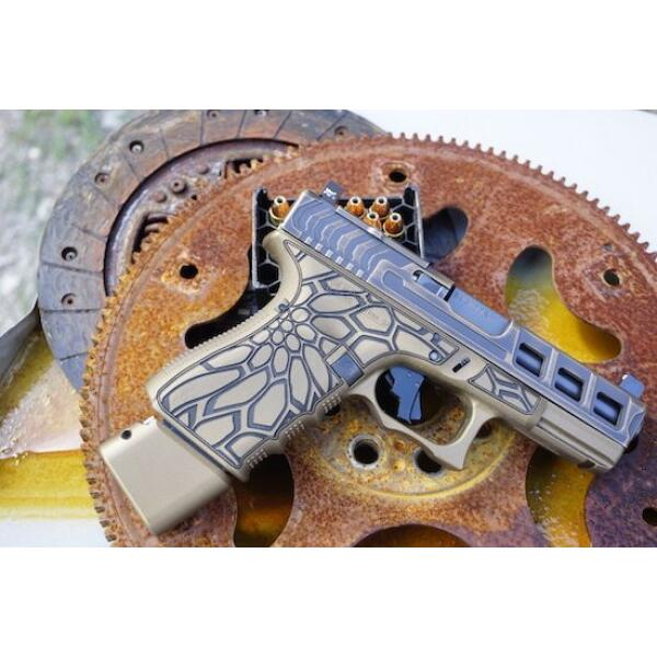 right side of tan glock handgun