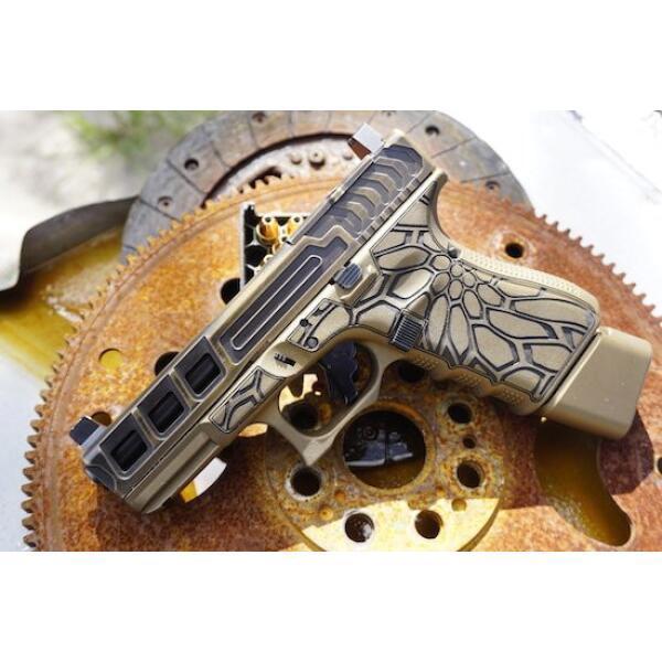 left side of tan glock handgun