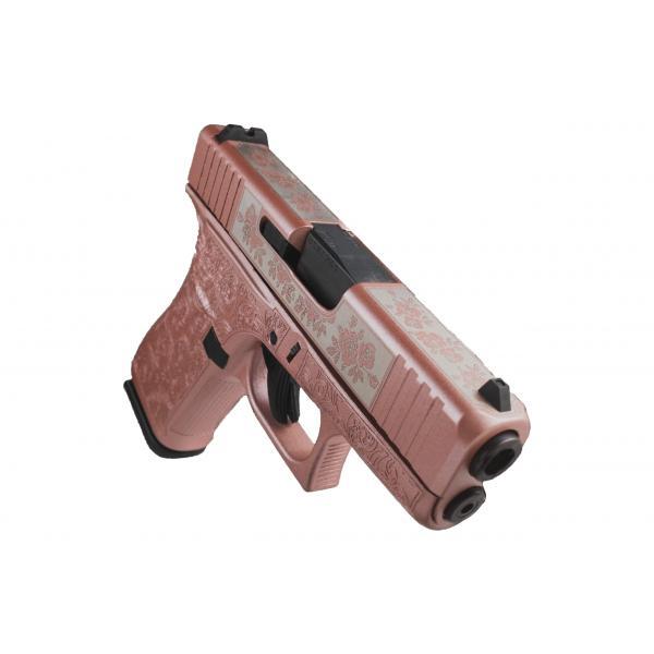 front of rose colored glock handgun
