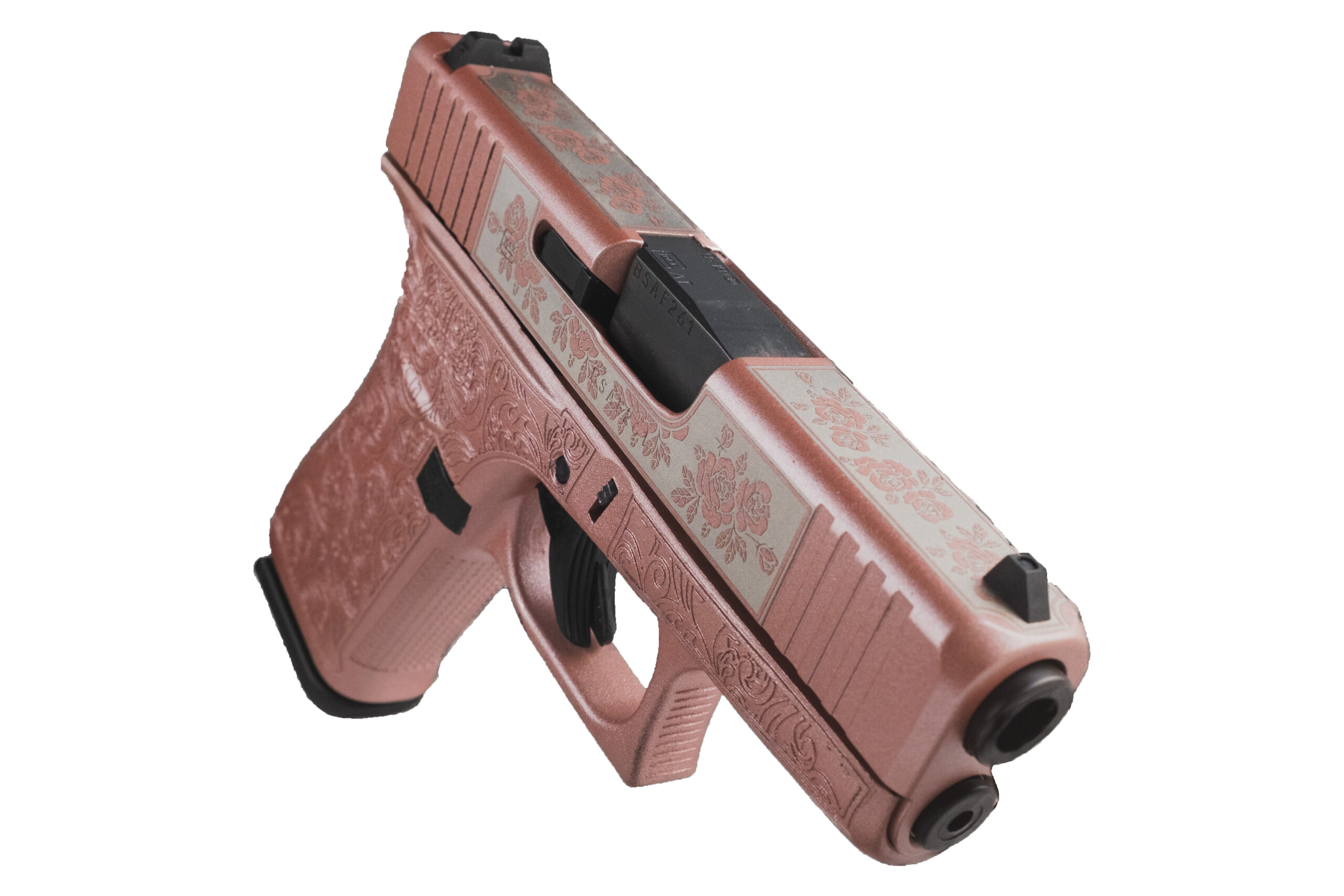 front of rose colored glock handgun