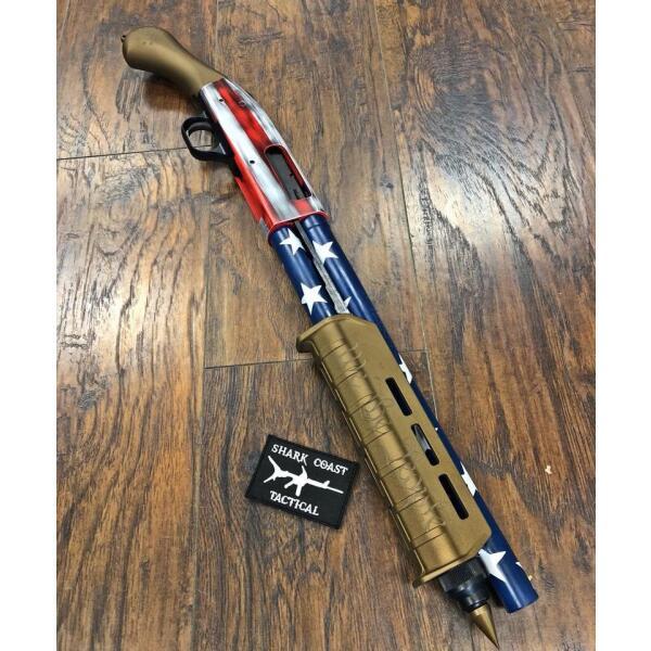 shotgun with patriotic finish