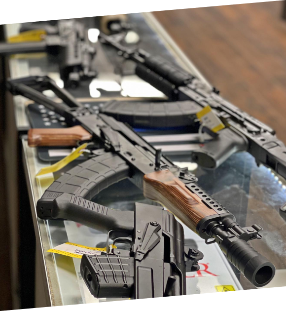 showroom counter with guns