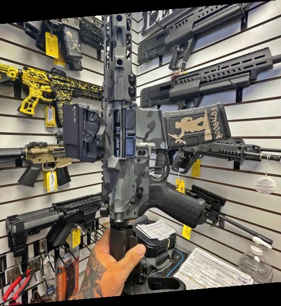 Showroom wall with guns