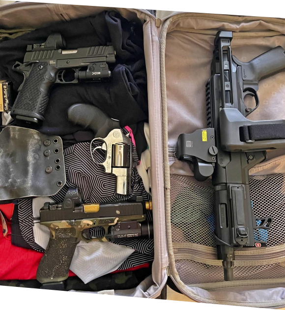 Tactical bag with guns